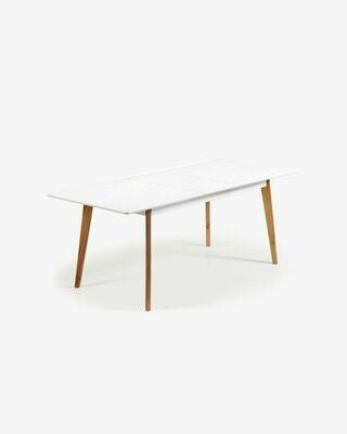 Mesa extensible Melan 160 (200) x 90 cm lacado blanco patas de madera maciza de caucho