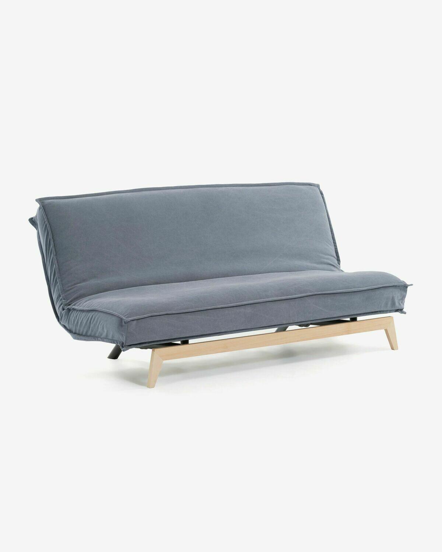 Sofá cama Eveline 195 cm azul estructura madera