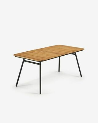 Mesa Soumaya 180 x 90 cm de madera maciza de acacia patas de acaero acabado negro FSC 100%