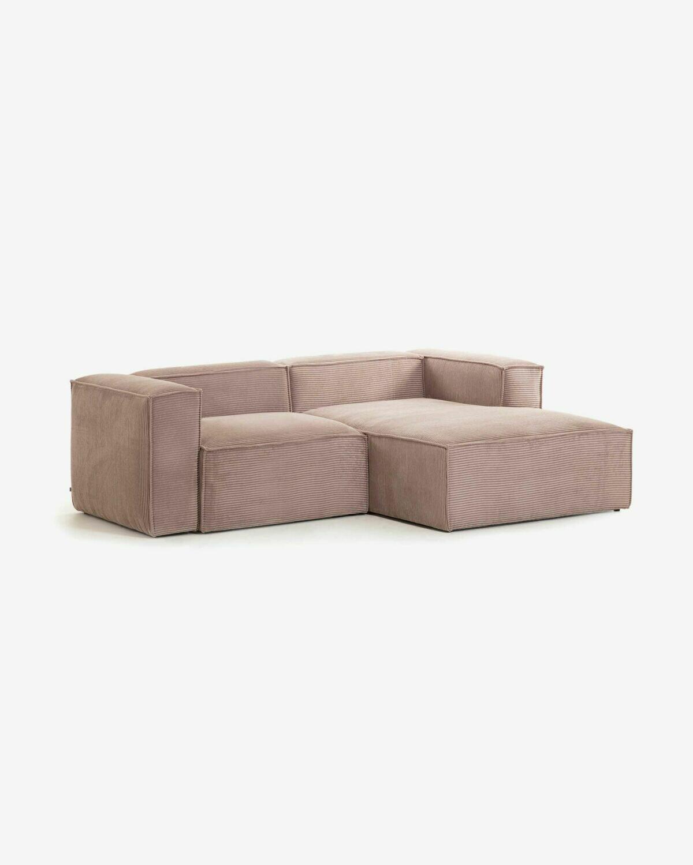 Sofá Blok 2 plazas chaise longue derecho pana rosa 240 cm