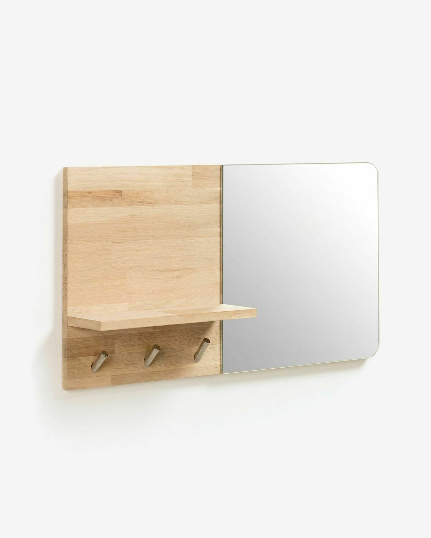 Espejo colgador Maiten de madera maciza de roble 65 x 35 cm