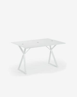 Consola mesa Kita 130 x 45 (90) cm melamina blanco patas acero acabado blanco
