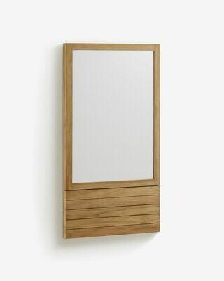 Espejo Kuveni de madera maciza de teca 60 x 110 cm