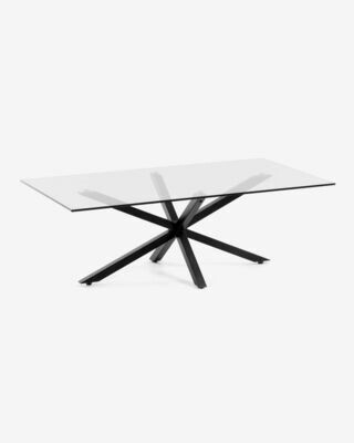 Mesa de centro Argon 130 x 70 cm cristal patas de acero acabado negro