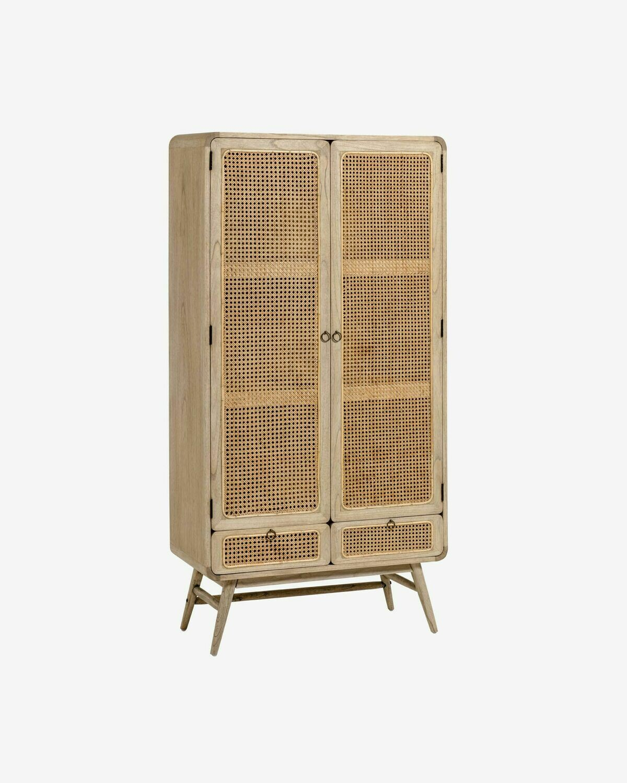 Aparador Nalu 90 x 175 cm de madera maciza de mindi y ratán
