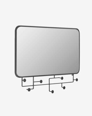 Espejo con colgadores Vianela de metal negro 63 x 82 cm