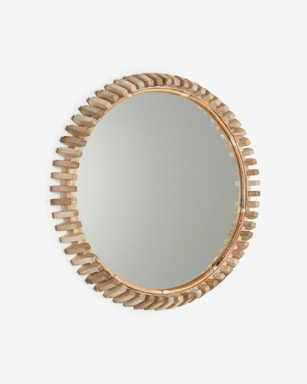 Espejo Polke de madera maciza de teca Ø 52 cm