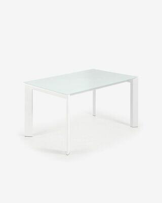 Mesa extensible Axis 140 (200) cm cristal blanco patas blanco