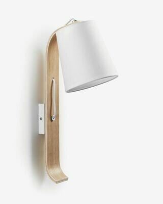 Aplique Repcy de madera de haya con acabado blanco