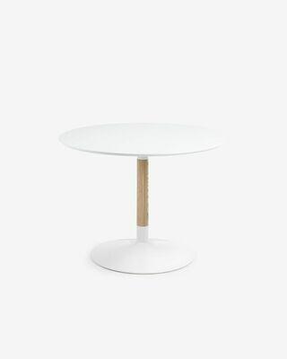 Mesa Trick Ø 110 cm lacado blanco pie de madera maciza de fresno y acero acabado blanco