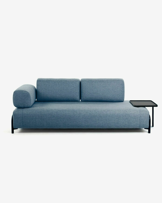 Sofá Compo 3 plazas azul con bandeja grande 252 cm