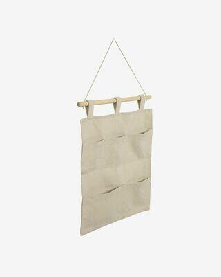 Colgador con bolsillos Niale 100% algodón orgánico (GOTS) beige
