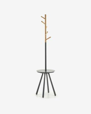Perchero bandeja Nerb madera lacada gris y madera de caucho natural 40 x 170 cm