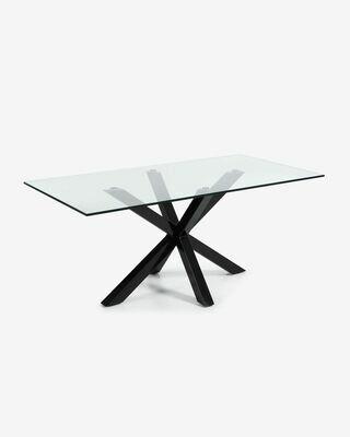 Mesa Argo 200 x 100 cm cristal patas de acero acabado negro
