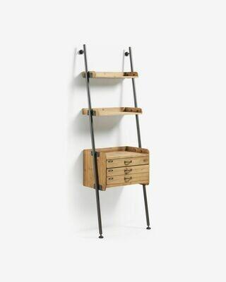 Estantería con cajones Mobela 67 x 200 cm de madera maciza de abeto