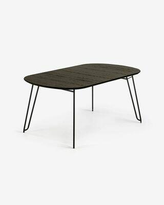 Mesa extensible Milian 140 (220) x 90 cm chapa de fresno patas de acero acabado negro