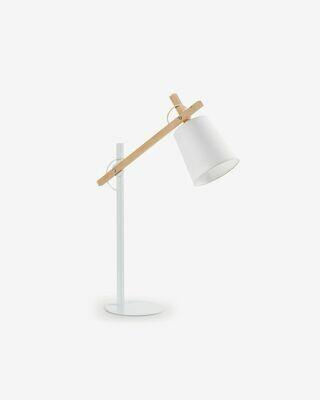 Lámpara de sobremesa Kosta de acero y madera maciza de haya