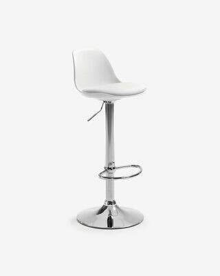 Taburete Orlando-T blanco de acero altura 60-82 cm