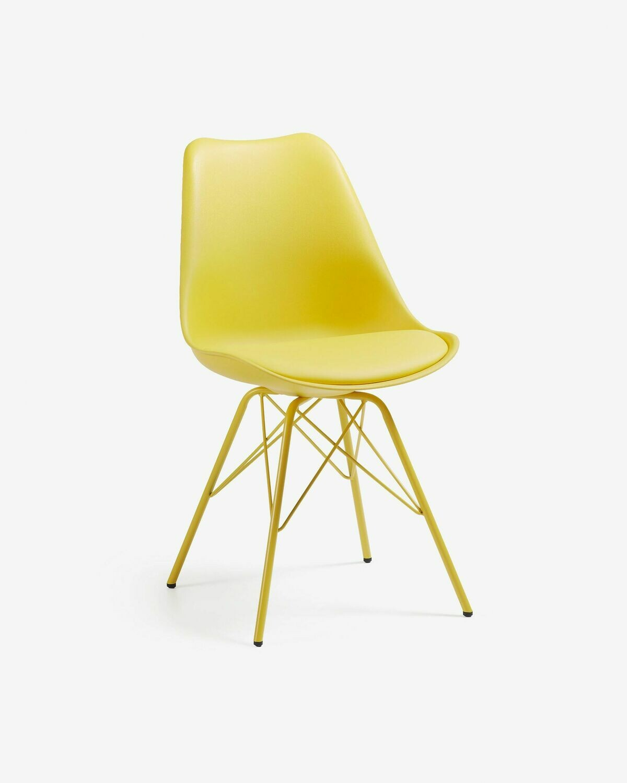 Silla Ralf amarillo con patas de metal