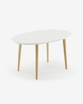 Mesa extensible oval Oqui blanco 140 (220) x 90 cm