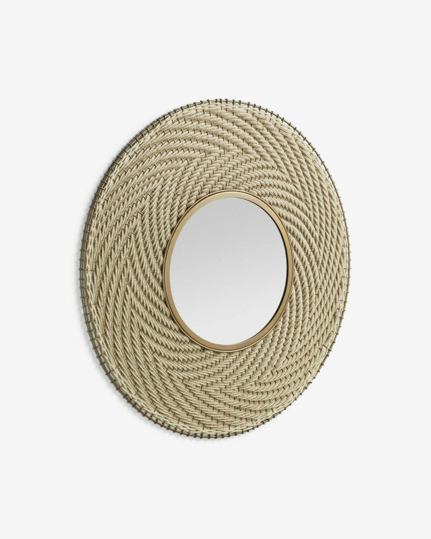 Espejo Klevin de acero y cuerda Ø 80 cm