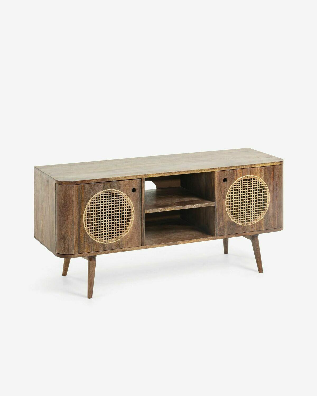 Mueble TV Geraldine 120 x 55 cm de madera maciza de mango y ratán