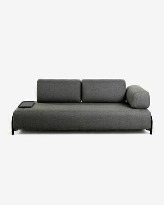 Sofá Compo 3 plazas gris oscuro con bandeja pequeña 232 cm