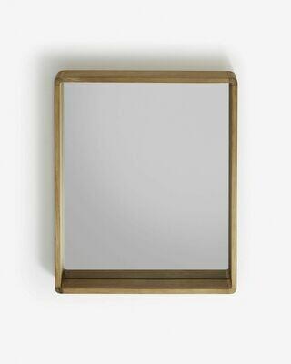 Espejo Kuveni de madera maciza de teca 80 x 65 cm