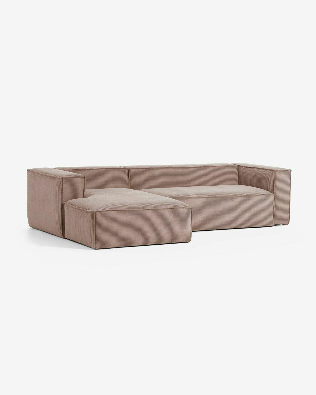 Sofá Blok 3 plazas chaise longue izquierdo pana rosa 300 cm
