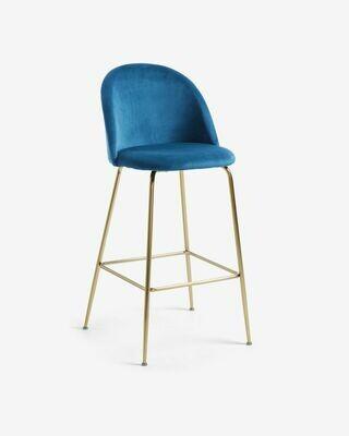 Taburete Ivonne terciopelo azul y acero con acabado dorado altura 76 cm