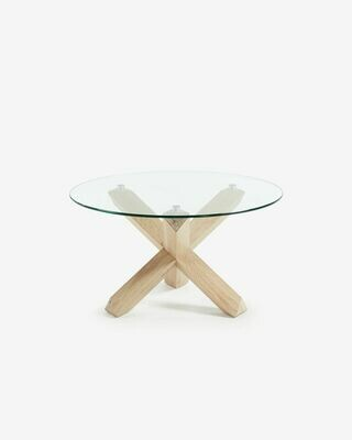 Mesa de centro Lotus Ø 65 cm cristal patas madera maciza de roble
