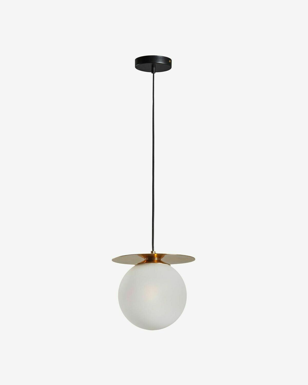 Lámpara de techo Manz de latón y cristal glaseado