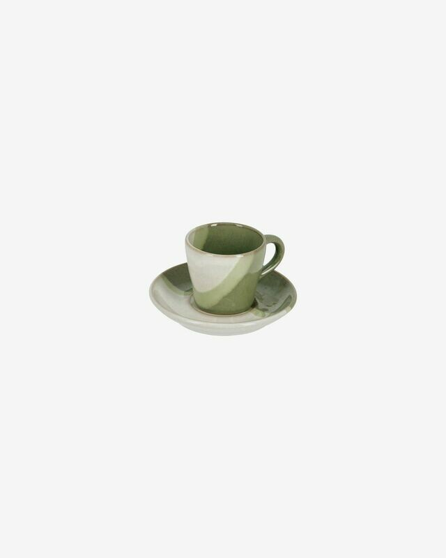 Taza de café con plato Naara de cerámica blanco y verde
