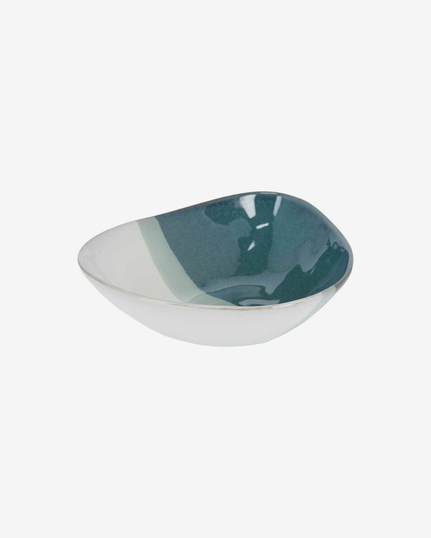 Bol irregular Nelba de cerámica blanco y azul