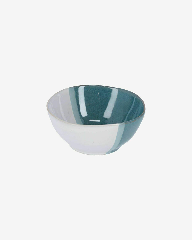 Bol Nelba de cerámica blanco y azul