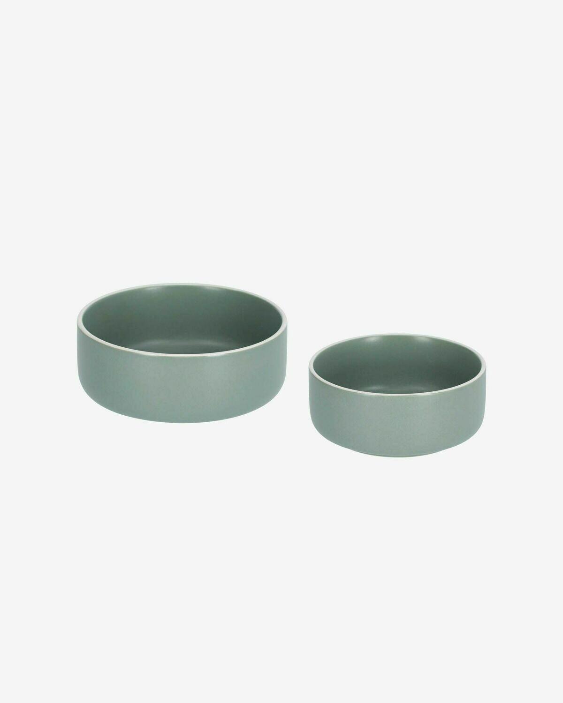 Set de bol grande y pequeño Shun de porcelana verde