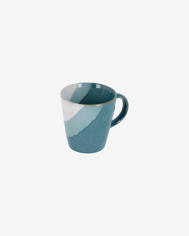 Taza Nelba de cerámica blanco y azul