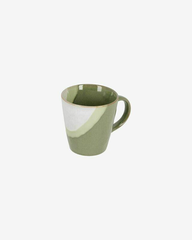 Taza Naara de cerámica blanco y verde