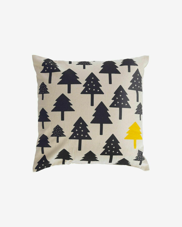 Funda cojín Saori 100% algodón orgánico (GOTS) árboles pequeños negro 45 x 45 cm