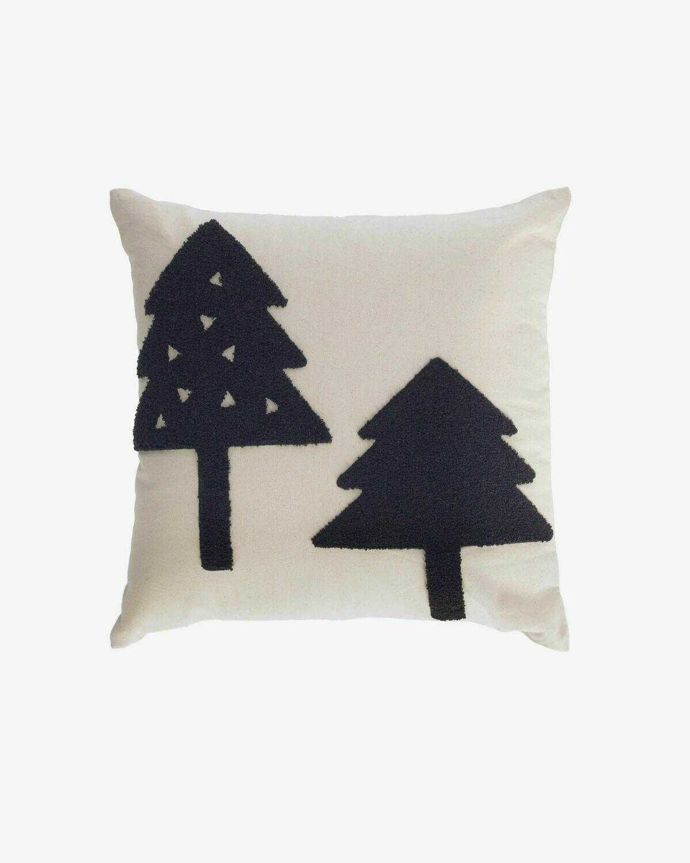 Funda cojín Saori 100% algodón orgánico (GOTS) árboles grandes negro 45 x 45 cm