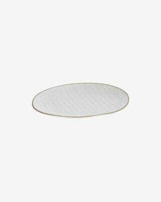 Plato de postre Manami de cerámica blanco