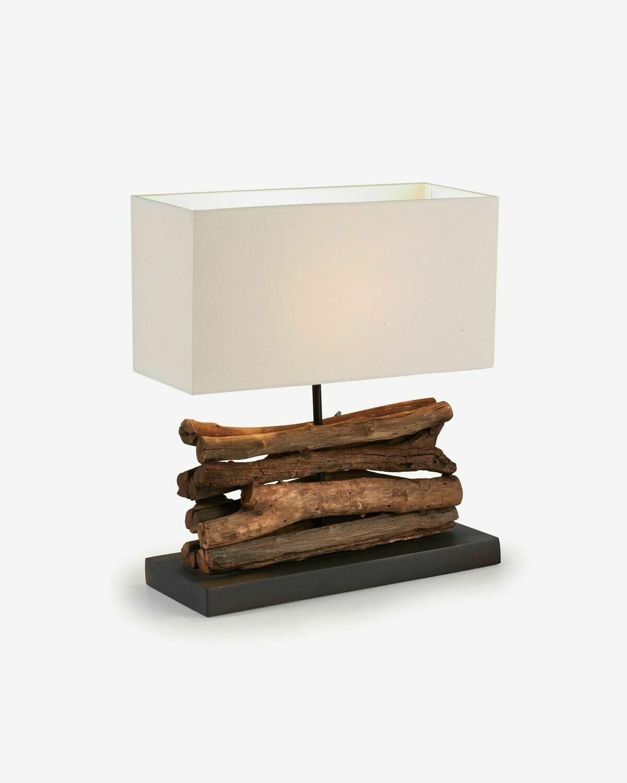 Lámpara de sobremesa Sahai de madera maciza de caucho