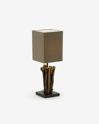 Lámpara de sobremesa Antares de madera roja y de caucho