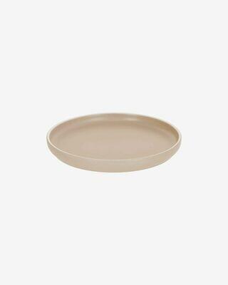 Plato de postre Shun de porcelana beige