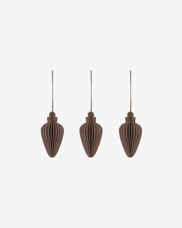Set Yaril de 3 adornos colgantes decorativos marrón
