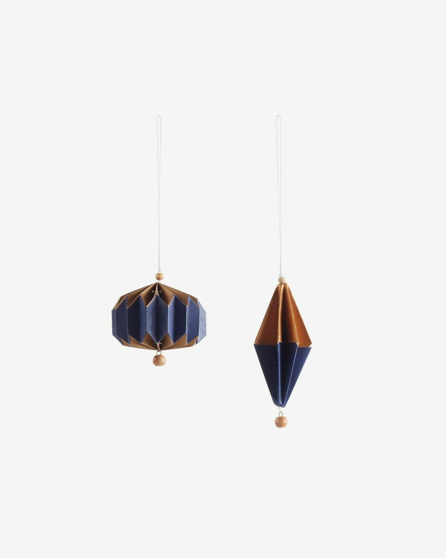 Set Artik de 2 adornos colgantes decorativos azul y dorado