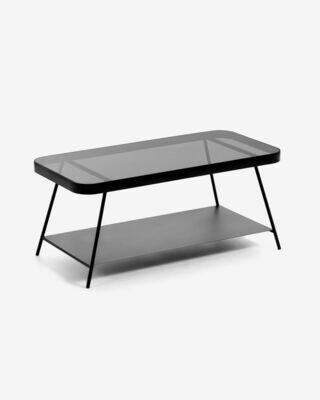 Mesa de centro Duilia cristal gris ahumado y estructura de acero acabado negro 90 x 45 cm