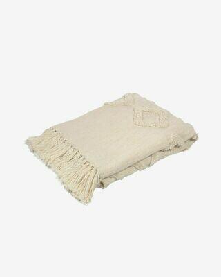 Manta Xayoxhira 100% algodón blanco 130 x 170 cm