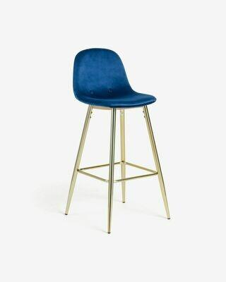 Taburete Nolite terciopelo azul y acero galvanizado dorado altura 75 cm