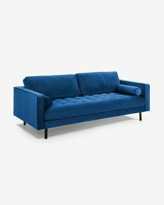 Sofá Debra 3 plazas terciopelo azul 222 cm